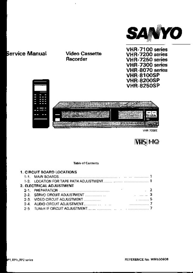 Service Manual Sanyo VHR-8250sp