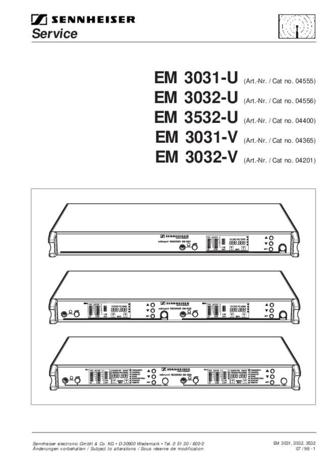 Sennheiser Electronic -- EM 3532-U -- Download your lost manuals for