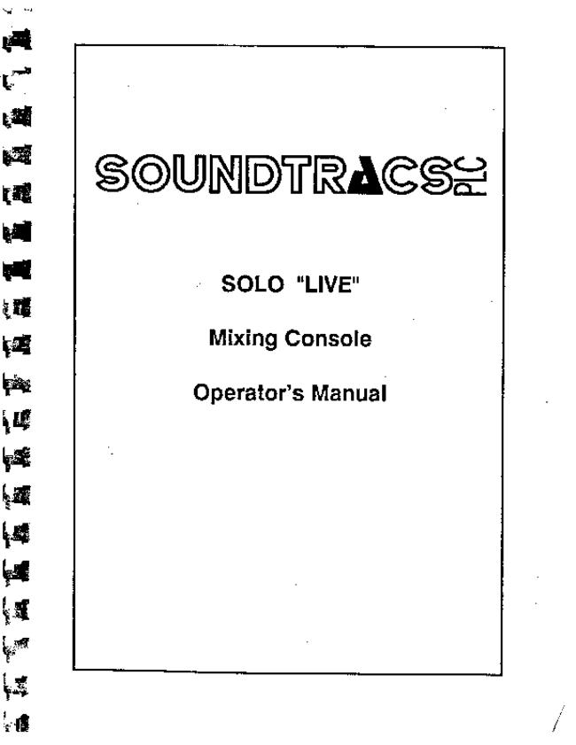 User Manual with schematics Soundtracs Solo Live