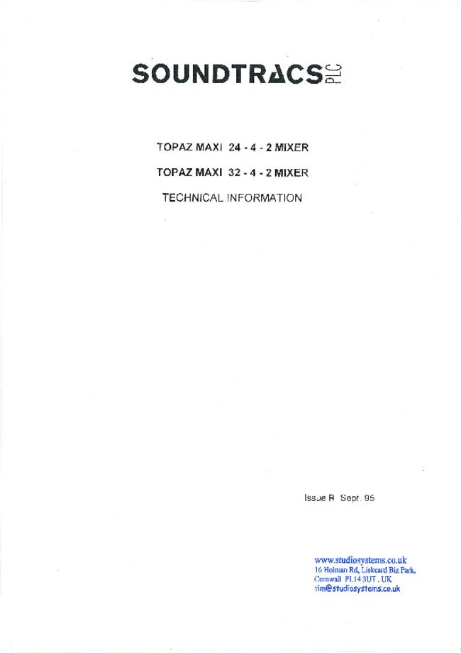 Service Manual Soundtracs Topaz Maxi 32-4-2