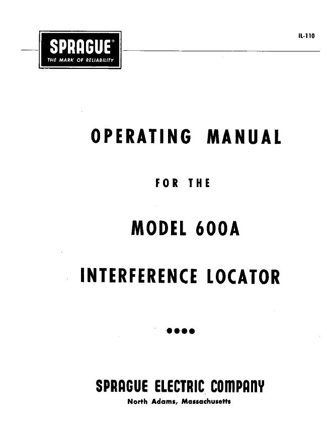Service and User Manual Sprague 600a