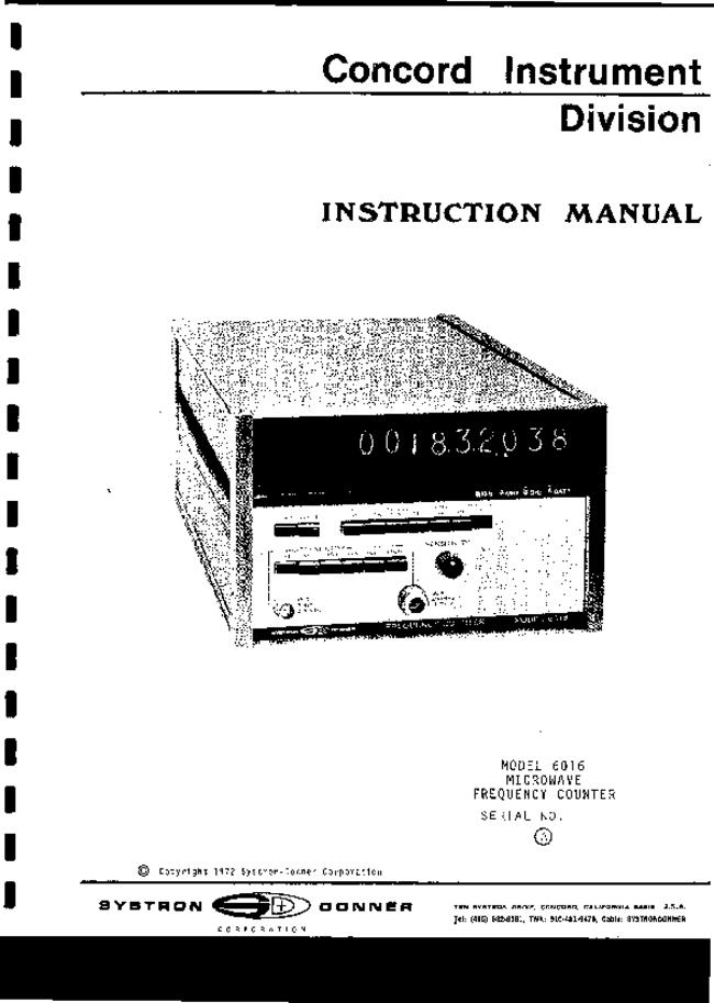 Service and User Manual SystronDonner 6016