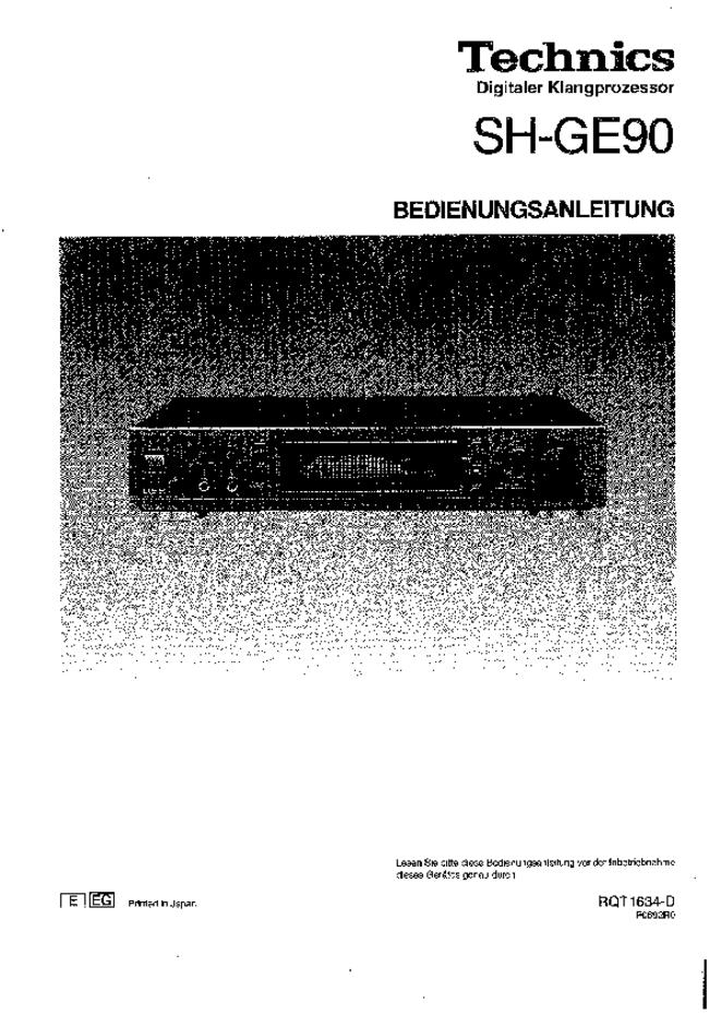Technics -- SH-GE90 -- Download your lost manuals for free