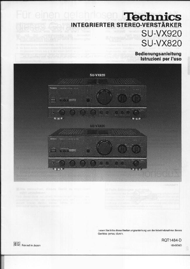 Technics -- SU-VX820 -- Download your lost manuals for free