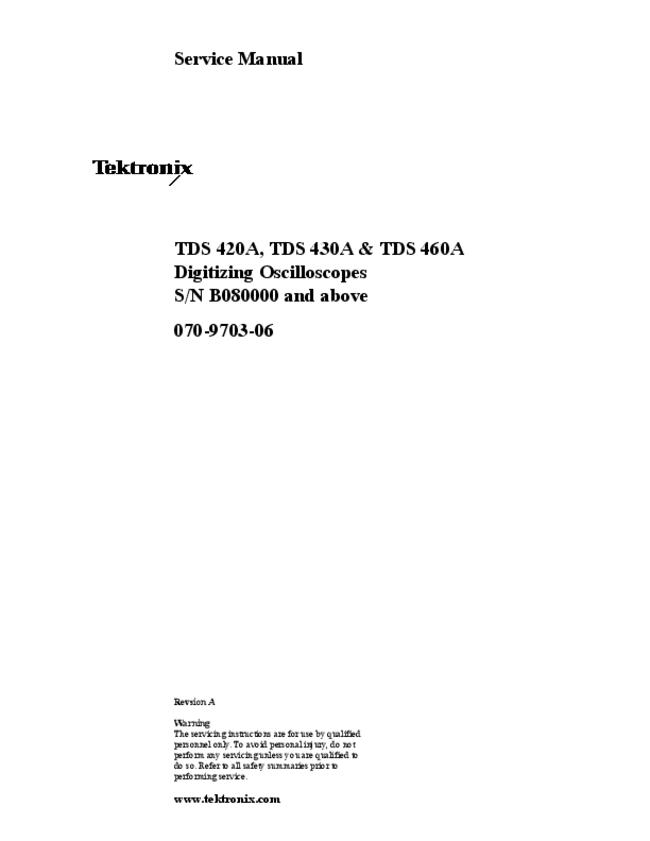 Service Manual Tektronix TDS 460A