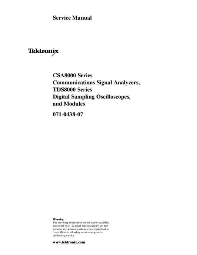 Service Manual Tektronix TDS8000 Series