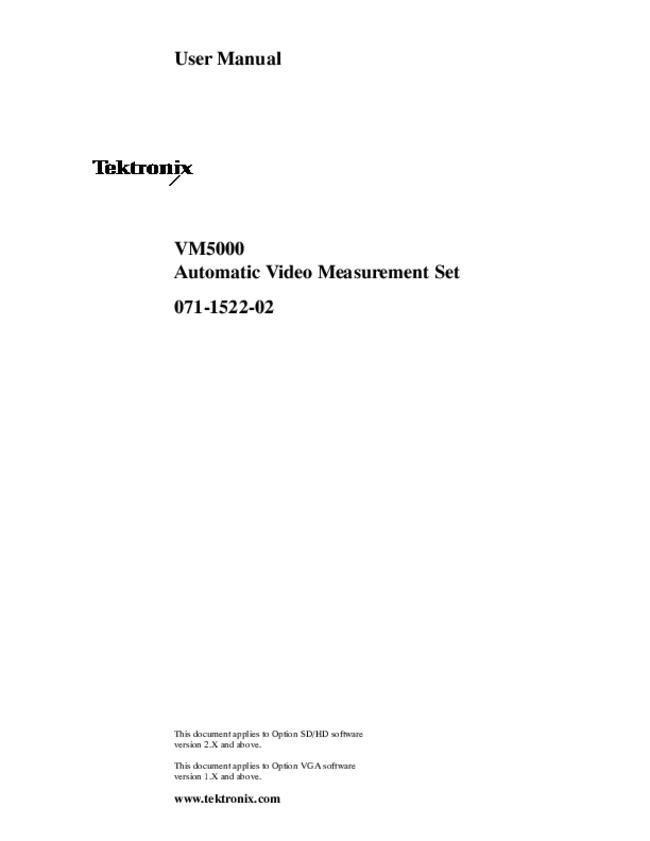 User Manual Tektronix VM5000