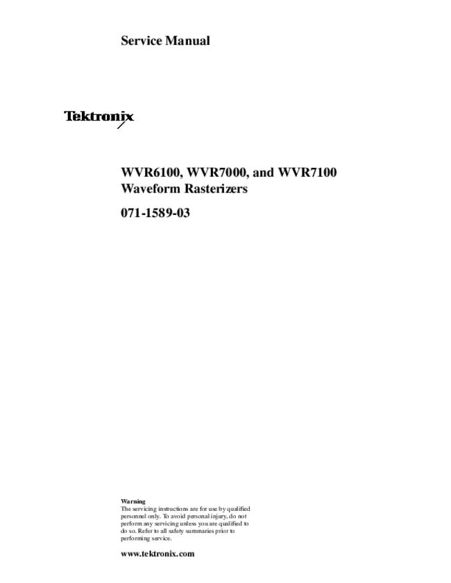 Service Manual Tektronix WVR7100