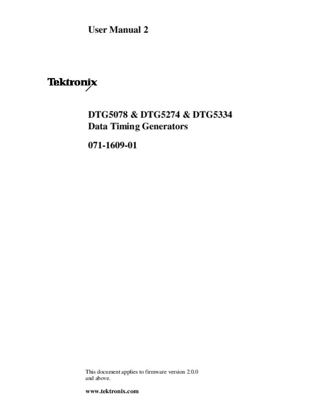 User Manual Tektronix DTG5334