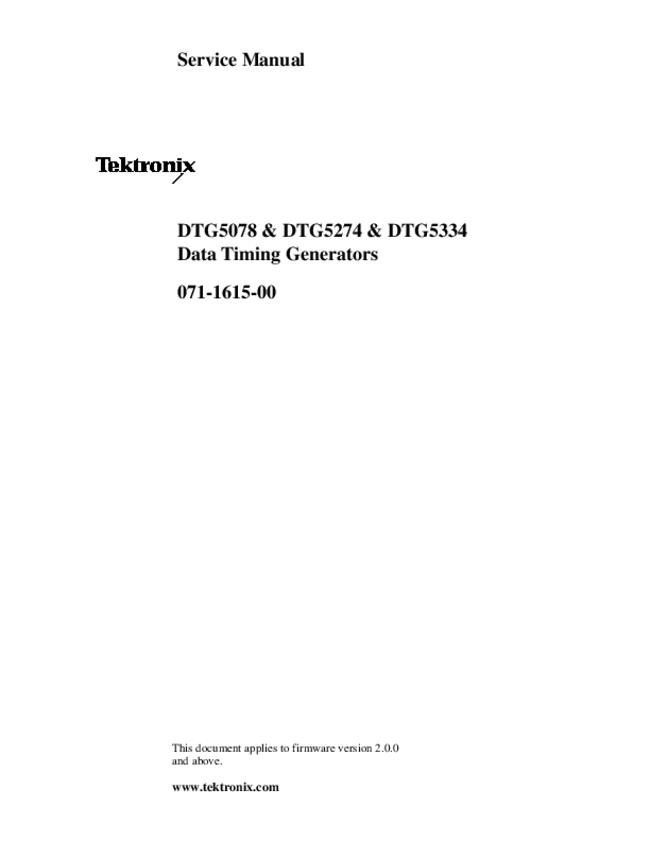 Service Manual Tektronix DTG5334