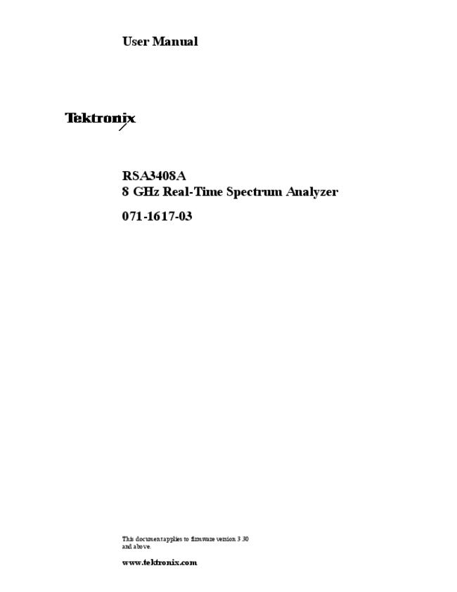 User Manual Tektronix RSA3408A