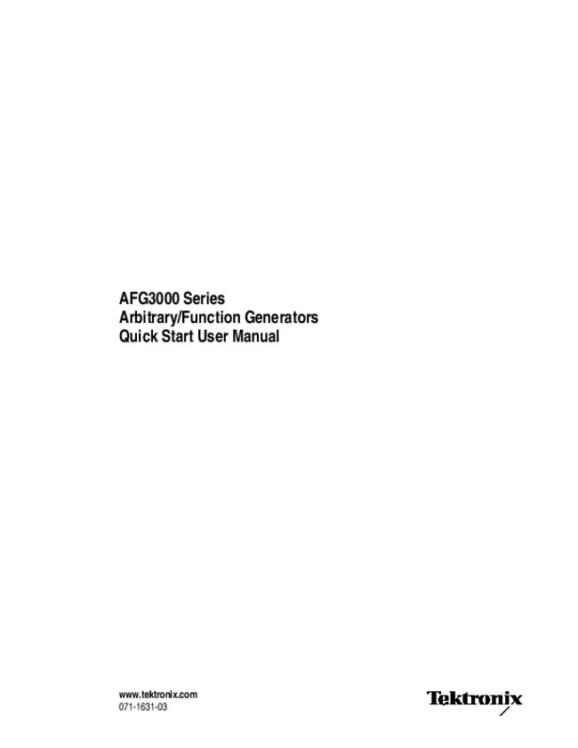 User Manual Tektronix AFG3252