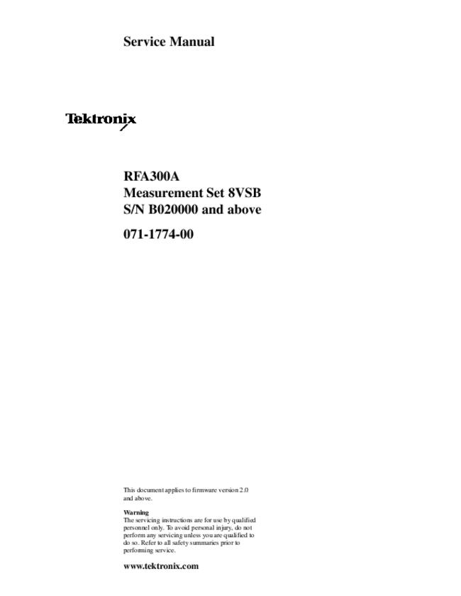 Service Manual Tektronix RFA300A
