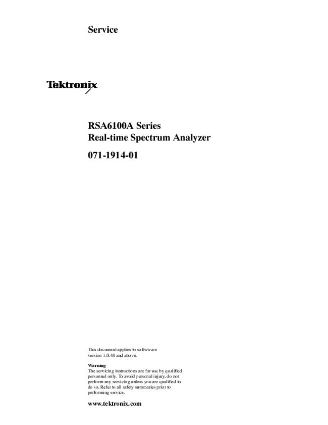 Service Manual Tektronix RSA6114A