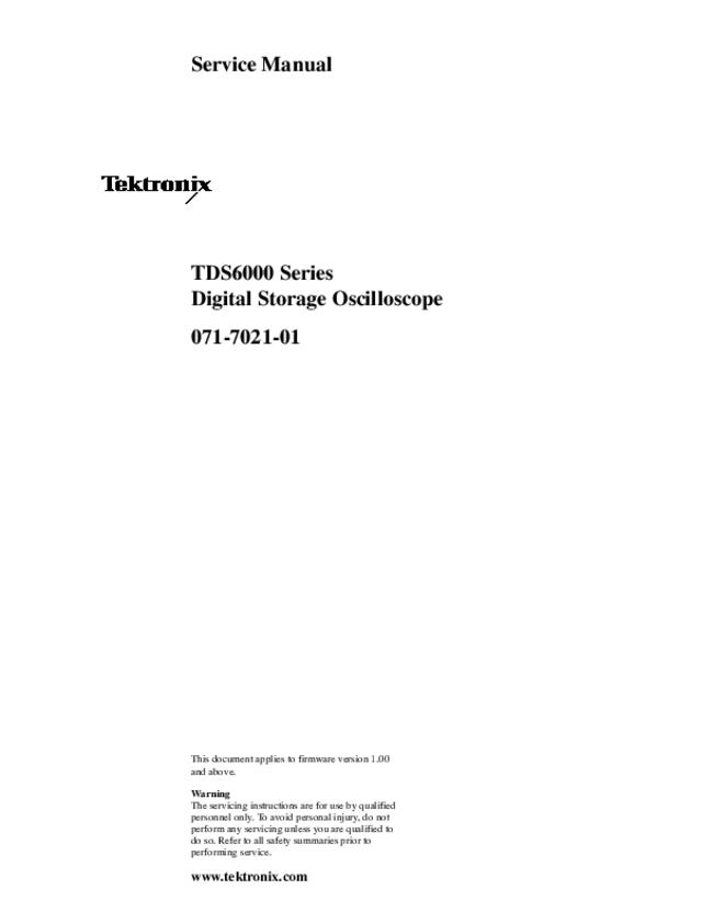 Service Manual Tektronix TDS6000