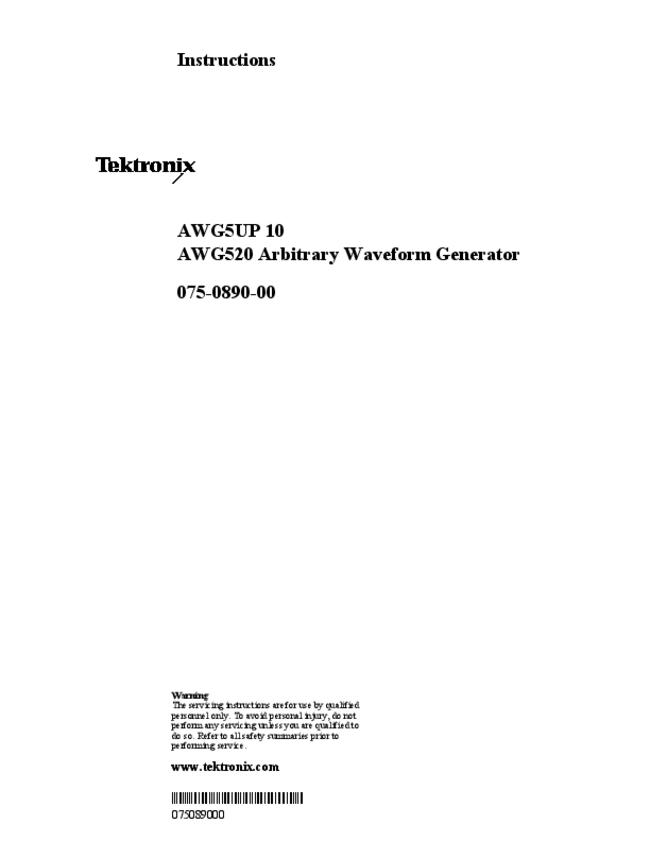 User Manual Tektronix AWG5UP 10