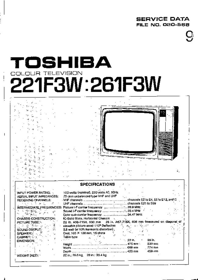 Service Manual, cirquit diagram only Toshiba 261F3W