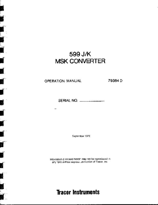 User Manual with schematics Tracor 599K