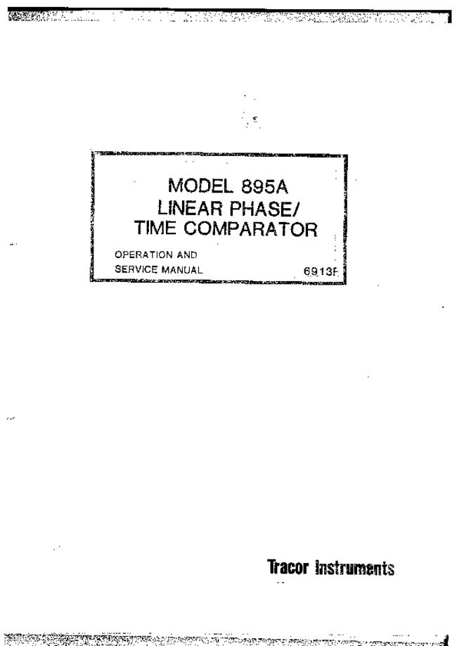Service and User Manual Tracor 895A