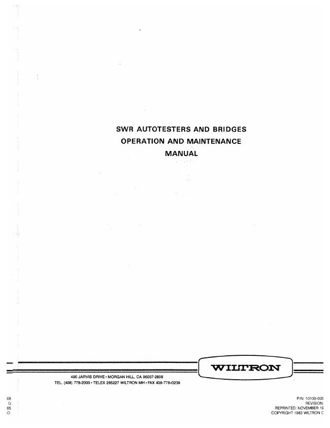 User Manual Wiltron 87 Series