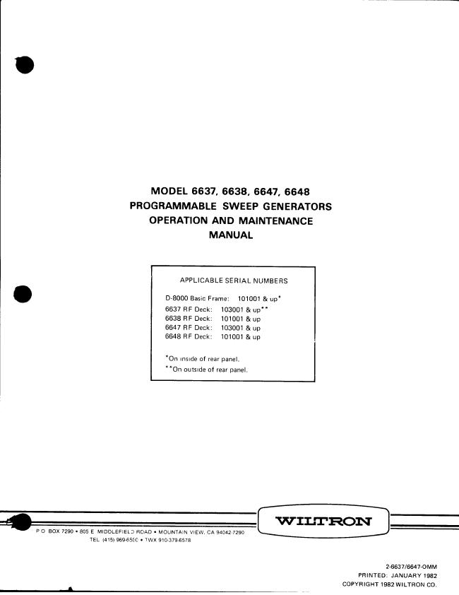 Service and User Manual Wiltron 6648