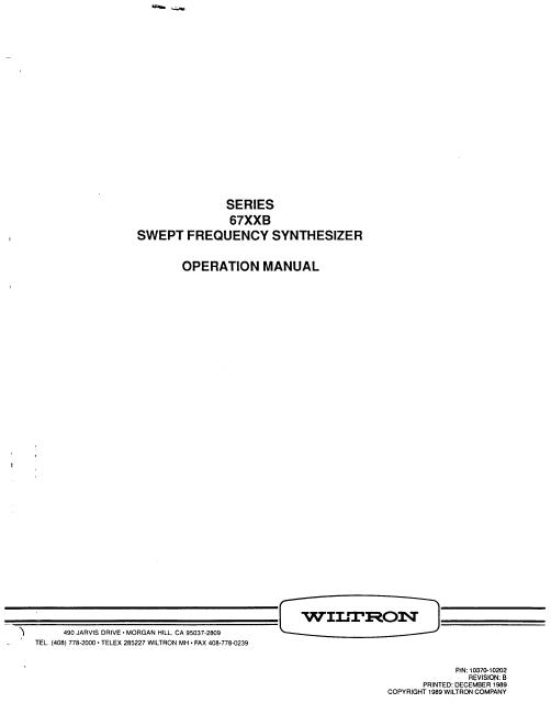User Manual Wiltron 6772B
