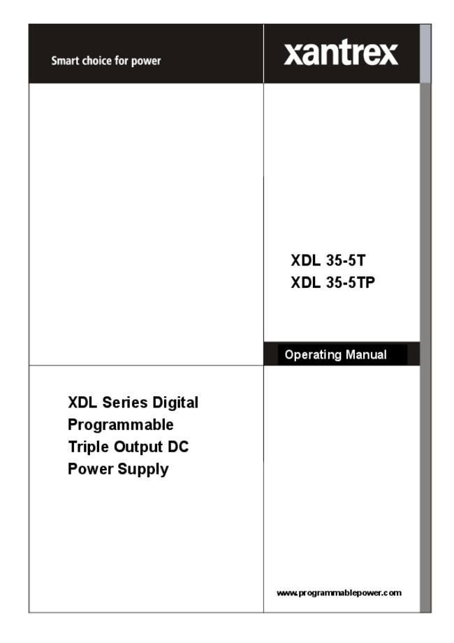 User Manual Xantrex XDL 35-5TP