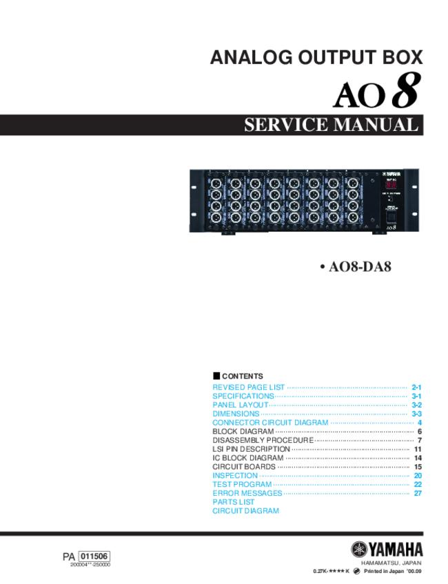 Service Manual Yamaha AO8-DA8